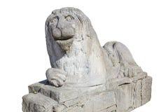 Statua di pietra del leone, isolata Fotografia Stock