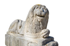 Statua di pietra del leone, isolata Fotografie Stock