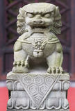 Statua di pietra del leone in un tempio Fotografia Stock Libera da Diritti