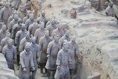 Statua di pietra di soilders dell'esercito, esercito di terracotta in Xian, Cina immagine stock