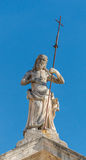 Statua di pietra nella vecchia città Perast Fotografie Stock