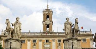 Statua di Pollux e della macchina per colata continua a Roma Immagini Stock Libere da Diritti