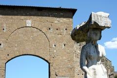 Statua di Porta Romana e Firenze Fotografia Stock