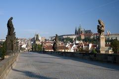 Statua di Praga sul ponticello del Charles Fotografie Stock Libere da Diritti