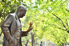 Statua di rame del parco nella primavera Immagini Stock Libere da Diritti