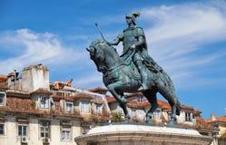 Statua di re Joao I sul Praca da Figueira lisbona Portuga Immagini Stock Libere da Diritti