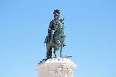 Statua di re Jose sul quadrato di commercio a Lisbona Portogallo Immagini Stock Libere da Diritti
