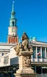 Statua di Saint John di Nepomuk e municipio di Poznan, Polonia fotografia stock libera da diritti