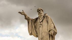 Statua di San Benedetto in Norcia Fotografia Stock