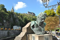 Statua di Victor Hugo a Vianden Fotografia Stock Libera da Diritti