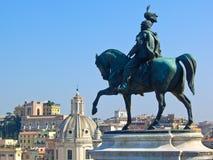 Statua di Vittorio Emanuele II a Roma, Italia Fotografia Stock Libera da Diritti