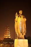 Statua di Xuan matrice Zang nella notte Immagine Stock