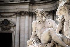 Statua di Zeus in fontana, piazza Navona, Roma, Italia Fotografie Stock