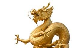 Statua dorata cinese del drago Fotografia Stock Libera da Diritti