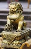 Statua dorata del cavallo del drago Fotografia Stock