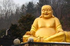 Statua dorata della rana pescatrice Fotografie Stock
