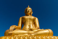 Statua dorata di Baddha Fotografie Stock