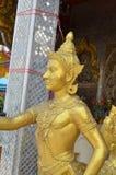 Statua dorata di Kinnaree Fotografia Stock