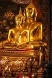 Statua dorata tailandese del Buddha Fotografie Stock