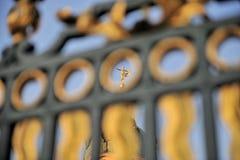 Statua dorata tramite la rete fissa Fotografia Stock