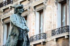 Statua dramatopisarz Carlo Goldoni w Wenecja Włochy wielki Włoski librettist i fotografia stock