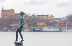 Statua dzwonił tana robi Carl Eldh w miedzianym na zewnątrz Obrazy Royalty Free