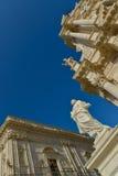 Statua e cattedrale di Siracusa Fotografia Stock Libera da Diritti