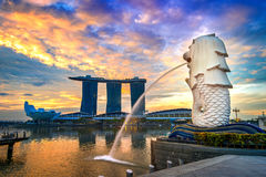 Statua e paesaggio urbano di Merlion a Singapore Immagini Stock Libere da Diritti