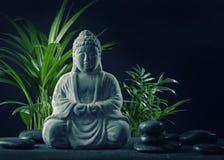 Statua e pietre del Buddha immagini stock libere da diritti