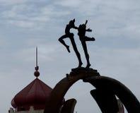 Statua e precedente moschea I Loule Portogallo Fotografia Stock