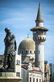 Statua e punti di riferimento di Costanza nella città rumena di Mar Nero Fotografia Stock