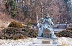 Statua Elisabeth Wied, królowej Rumunia w Peles kasztelu consort Fotografia Royalty Free