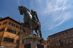 Statua equestre di Cosimo I de ` Medici sul della Signoria della piazza, da Giambologna Firenze, Italia immagine stock libera da diritti