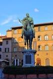 Statua equestre di Cosimo I de ` Medici sul della Signoria della piazza, immagine stock