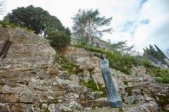 Statua Eze kaktusa ogród Zdjęcia Royalty Free