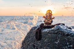 Statua Ganesh z Rudraksha Obrazy Royalty Free