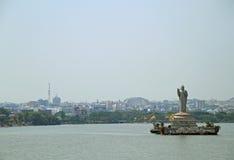 Statua Gautam Buddha w Hyderabad Zdjęcie Royalty Free