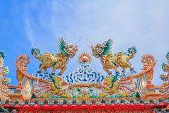 Statua gemellata del drago Fotografia Stock
