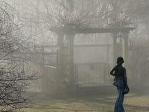 Statua graziosa nella nebbia Fotografia Stock