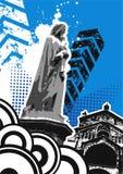 Statua Grungy con costruzione   Immagini Stock