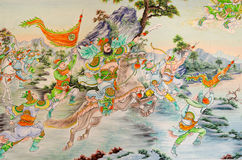 Statua Guan Yu deva farby sztuka piękna na drzwi [bóg honor] Zdjęcia Royalty Free