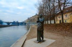 Statua harmonia lub rzeźba modlitwa na Kampa wyspie, Praga, republika czech zdjęcia stock