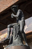 Statua Hermes lub Mercury Florian bramy częścią fortyfikacje które zostają teraz w mieście Krakow obraz stock