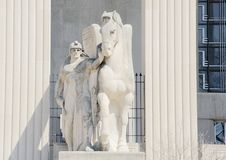 Statua koń i Solider Obrazy Royalty Free