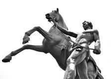 Statua konkieta koń na Anichkov moscie obraz stock
