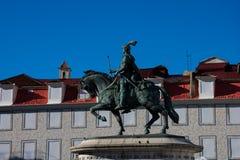 Statua królewiątko John Ja Estatua equestre de Dom Joao Ja Fotografia Royalty Free