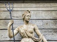 Statua królowa Amphitrite królowa Atlantis i żona królewiątko Neptune królewiątko Atlantis - chwytający w piazza Emile Chanoux Zdjęcia Stock