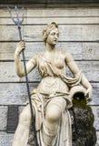 Statua królowa Amphitrite królowa Atlantis i żona królewiątko Neptune królewiątko Atlantis - chwytający w piazza Emile Chanoux Fotografia Stock