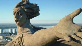 Statua kraj ojczysty w Volgograd Widok od trutni zamkniętych męstwa cywile tworzący umierający spora France zabytek utrzymuje por obrazy royalty free