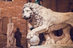 Statua lew przy loggii dei Lanzi Obraz Royalty Free